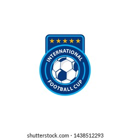 FOOTBALL CHAMPIONSHIP BADGE. FOOTBALL CUP COMPETITION STICKER - VECTOR
