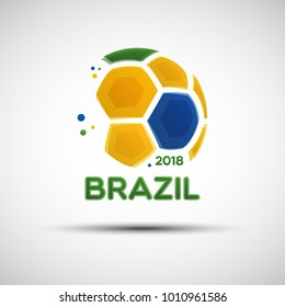 Football championship banner. Flag of Brazil. Vector illustration of abstract soccer ball with Brazilian national flag colors for your design