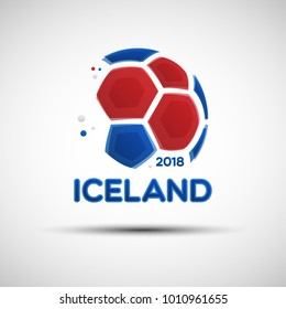 Football championship banner. Flag of Iceland. Vector illustration of abstract soccer ball with Icelandic national flag colors for your design