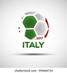 Football championship banner. Flag of Italy. Vector illustration of abstract soccer ball with Italian national flag colors for your design