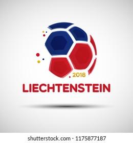 Football championship banner. Flag of Liechtenstein. Vector illustration of abstract soccer ball with Liechtensteinian national flag colors for your design