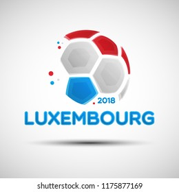 Football championship banner. Flag of Luxembourg. Vector illustration of abstract soccer ball with Luxembourg national flag colors for your design