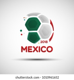 Football championship banner. Flag of Mexico. Vector illustration of abstract soccer ball with Mexican national flag colors for your design