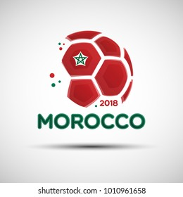 Football championship banner. Flag of Morocco. Vector illustration of abstract soccer ball with Moroccan national flag colors for your design