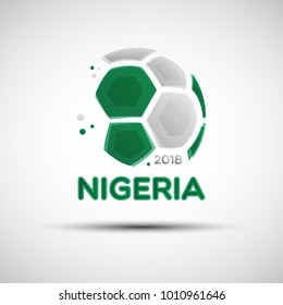 Football championship banner. Flag of Nigeria. Vector illustration of abstract soccer ball with Nigerian national flag colors for your design