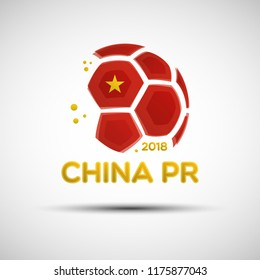 Football championship banner. Flag of People's Republic of China. Vector illustration of abstract soccer ball with Chinese national flag colors for your design