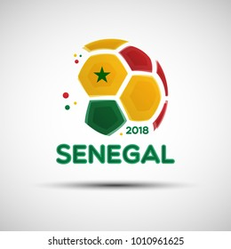 Football championship banner. Flag of Senegal. Vector illustration of abstract soccer ball with Senegalese national flag colors for your design