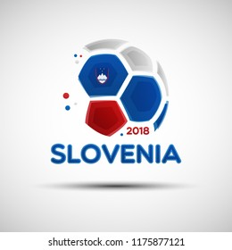 Football championship banner. Flag of Slovenia. Vector illustration of abstract soccer ball with Slovenian national flag colors for your design