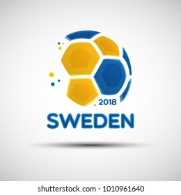 Football championship banner. Flag of Sweden. Vector illustration of abstract soccer ball with Swedish national flag colors for your design
