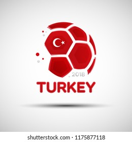 Football championship banner. Flag of Turkey. Vector illustration of abstract soccer ball with Turkish national flag colors for your design