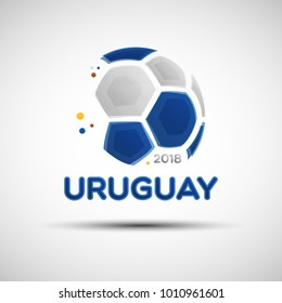 Football championship banner. Flag of Uruguay. Vector illustration of abstract soccer ball with Uruguayan national flag colors for your design