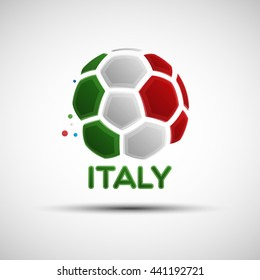 Football championship banner. Vector illustration of abstract soccer ball with colours of italian national flag for your design
