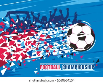 Football championship concept vector illustration. Flying soccer ball with speed trace and splinters of russian flags colors, silhouettes of fans on background.