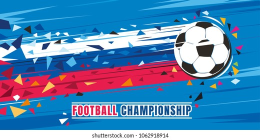 Football championship concept vector illustration. Flying soccer ball with russian flag speed trace