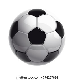 Football championship Design banner. Illustration banner with logo Realistic soccer ball Isolated on white background. black and white classic leather football ball