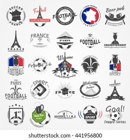 Football Championship of France set. Soccer time. Detailed elements. Typographic labels, stickers, logos and badges. Flat vector illustration