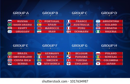Football championship groups. Set of national flags. Draw result. Soccer world tournament.
