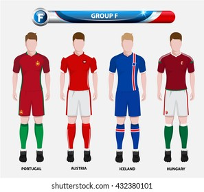 Football Championship Infographic, Soccer Players GROUP F. Football jersey.