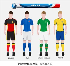 Football Championship Infographic, Soccer Players GROUP E. Football jersey.
