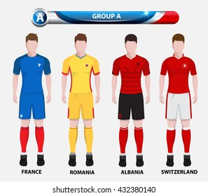 Football Championship Infographic, Soccer Players GROUP A. Football jersey.
