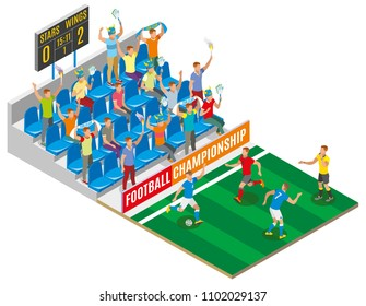 Football championship isometric composition with spectators on stadium tribune gamers on field and board with score of match vector illustration