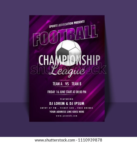 football championship league flyer banner designs stock vector