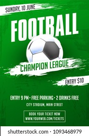 Football championships flyer, banner or poster design.
