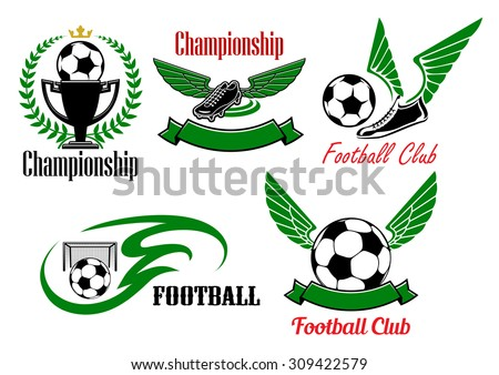 5166ed5af98 Football Club Championship Icons Soccer Balls Stock Vector (Royalty ...