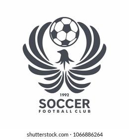 Football club logo with fenix and ball for emblem, Soccer club. vector