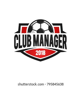 football club manager red logo template