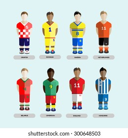 Football club Soccer Players silhouettes. Computer game team set. Sports infographic. Digital background vector illustration.