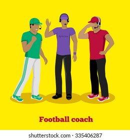 Football coach concept flat design. American sport, manager team, competition game, strategy play, tactic and plan, male trainer, professional people illustration