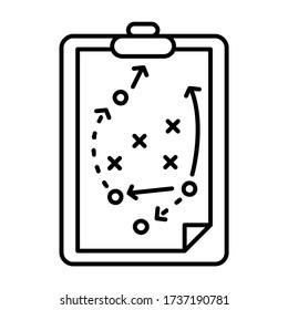 Football coach strategy board - outline icon design - vector illustration