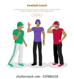 Football coaches web banner. Cartoon soccer referees in uniform and hat speaking into lip-ribbon microphone. Main referee. Judging competition. Football match. Flat referee icon. Football logo. Vector