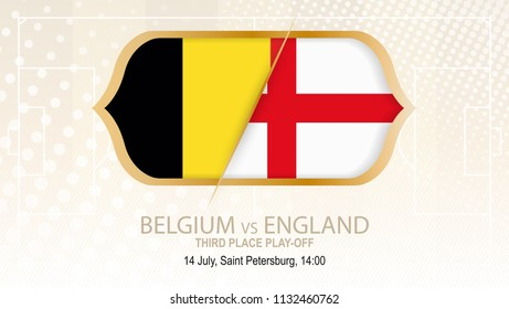 Football competition Belgium vs England, Third place play-off. On beige soccer background.