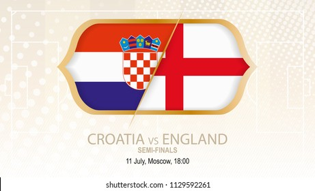 Football competition Croatia vs England, Semi-finals. On beige soccer background.