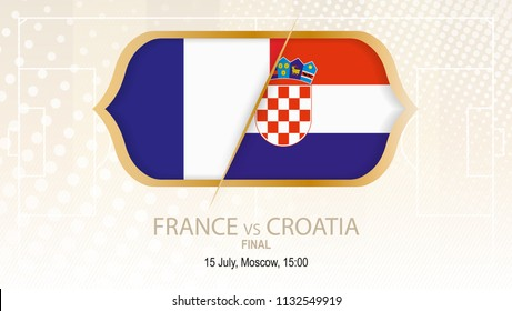 Football competition France vs Croatia, Final. On beige soccer background.