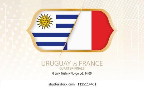 Football competition Uruguay vs France, Quarter-finals. On beige soccer background.