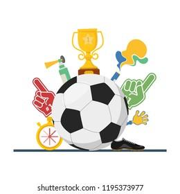 Football concept attributes of fans A set of tools for football fans Accessories for football and soccer fans vector illustration.
