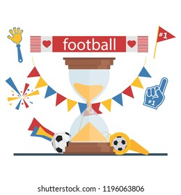 Football concept attributes of fans A set of tools for football fans Accessories for football and soccer fans vector illustration.