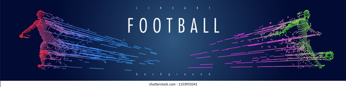 Football concept. Vector drawn by color lines. Soccer art. Creative line-art set. Vector template brochures, flyers, presentations, logo, print, leaflet, banners.