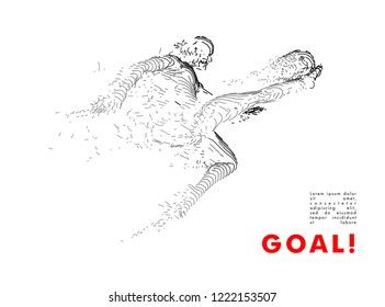 Football concept. Vector drawn by lines. Soccer art. Creative line-art set. Vector template brochures, flyers, presentations, logo, print, leaflet, banners.