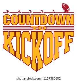Football - Countdown to Kickoff is an illustration of a football on a kicking tee with a 5, 4, 3, 2, 1 countdown with text that says Countdown to Kickoff representing the start of the game.