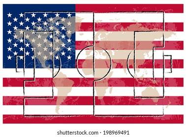 football court on american flag background vector illustration