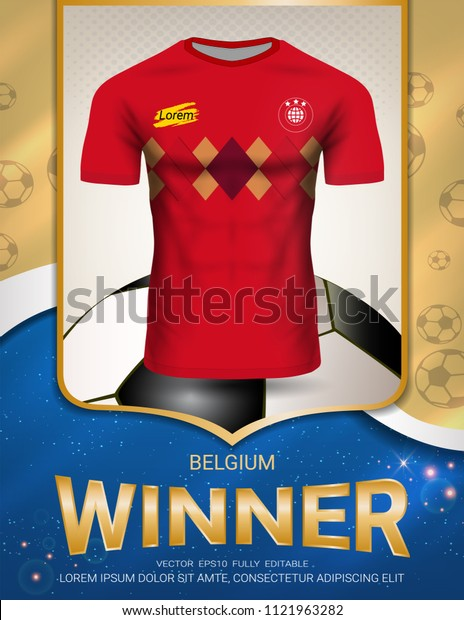 Football cup 2018, Belgium winner concept, First place in competition of World championship, Sport poster template with Soccer jersey team design gold and blue trend background (Vector EPS10)
