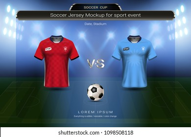 Football cup 2018 group A, Egypt VS Uruguay, Soccer jersey mock-up with scoreboard match schedule broadcast graphic template, For presentation score or game results of world championship in Russian.