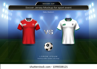 Football cup 2018 group A, Russia VS Saudi arabia, Soccer jersey mock-up with scoreboard match schedule broadcast graphic template, For presentation score or game results of world championship.
