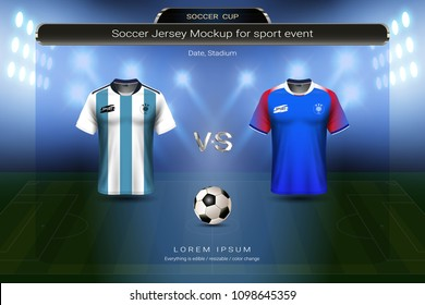 Football cup 2018 group D, Argentina VS Iceland, Soccer jersey mock-up with scoreboard match schedule broadcast graphic template, For presentation score or game results of world championship.