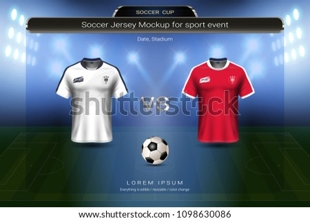 92bfed46ba0 Football cup 2018 group E, Costa rica VS Serbia, Soccer jersey mock-up