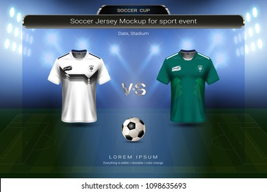 Football cup 2018 group F, Germany VS Mexico, Soccer jersey mock-up with scoreboard match schedule broadcast graphic template, For presentation score or game results of world championship in Russian.